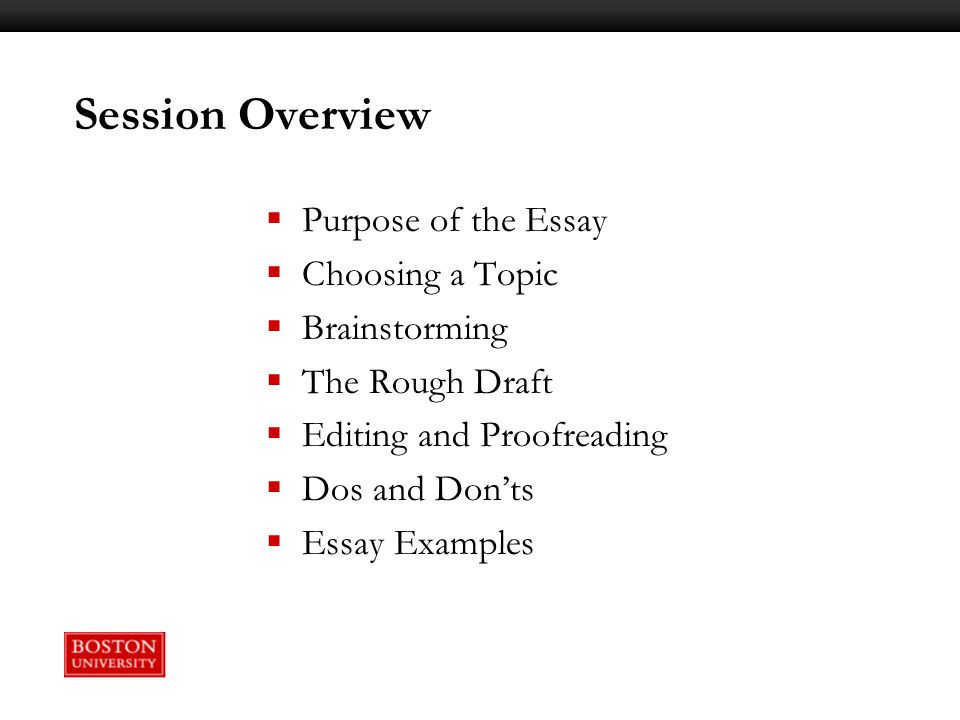 writing workshop constructing your college essay ppt video  session overview purpose of the essay choosing a topic brainstorming