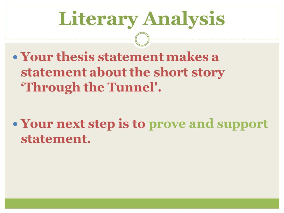 A literary analysis of the short