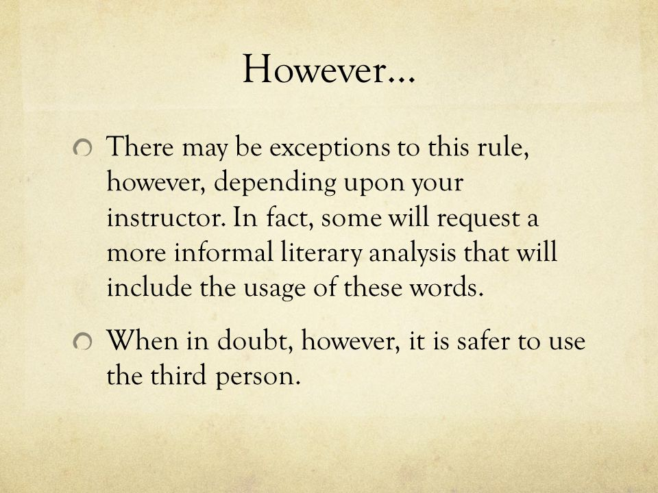 is a personal essay written in first person Example: you would do better on your essays if you wrote in third person it is important to note that when you aren't writing strictly in third person, the point of view can shift from sentence to sentence in the next example, you'll notice that both first-person and second-person points of view are present.