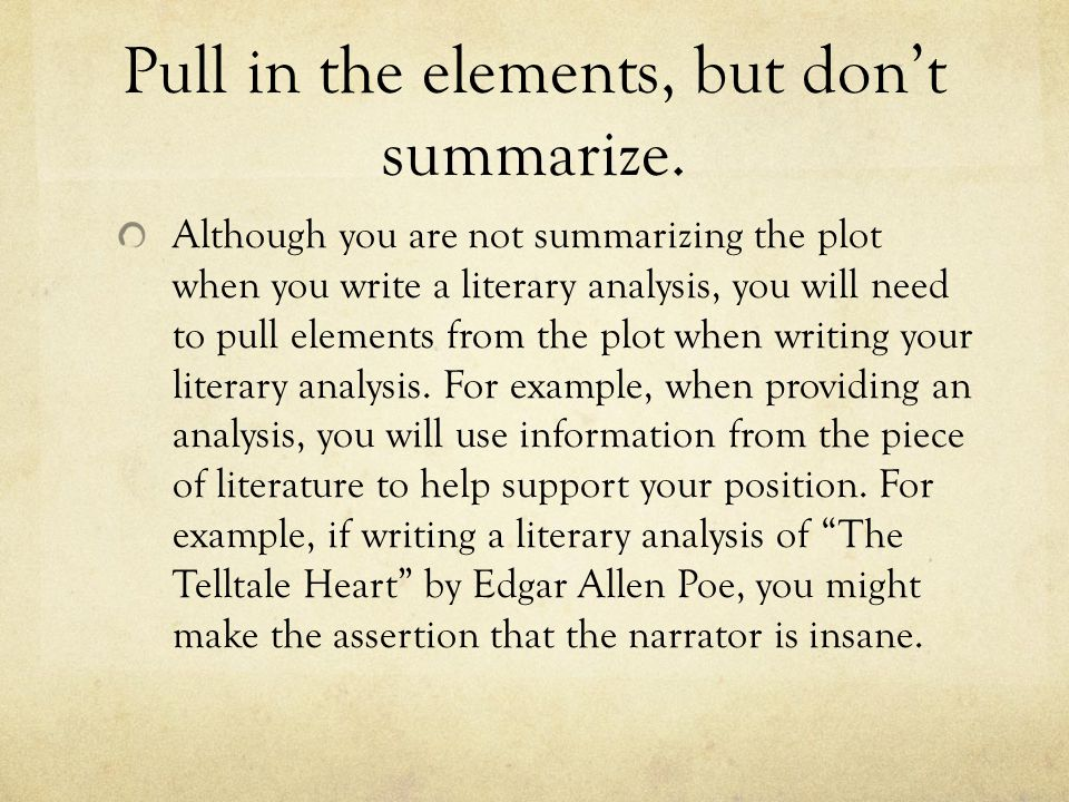how to write a literary analysis essay ppt video online pull in the elements but don t summarize
