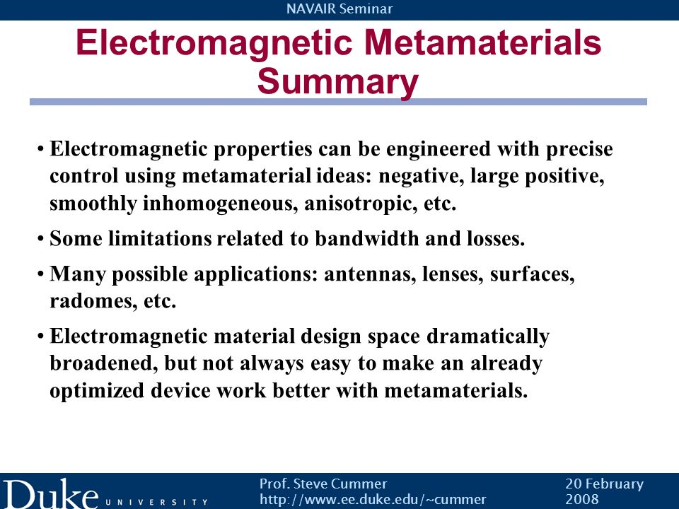 Electromagnetic Metamaterials Summary