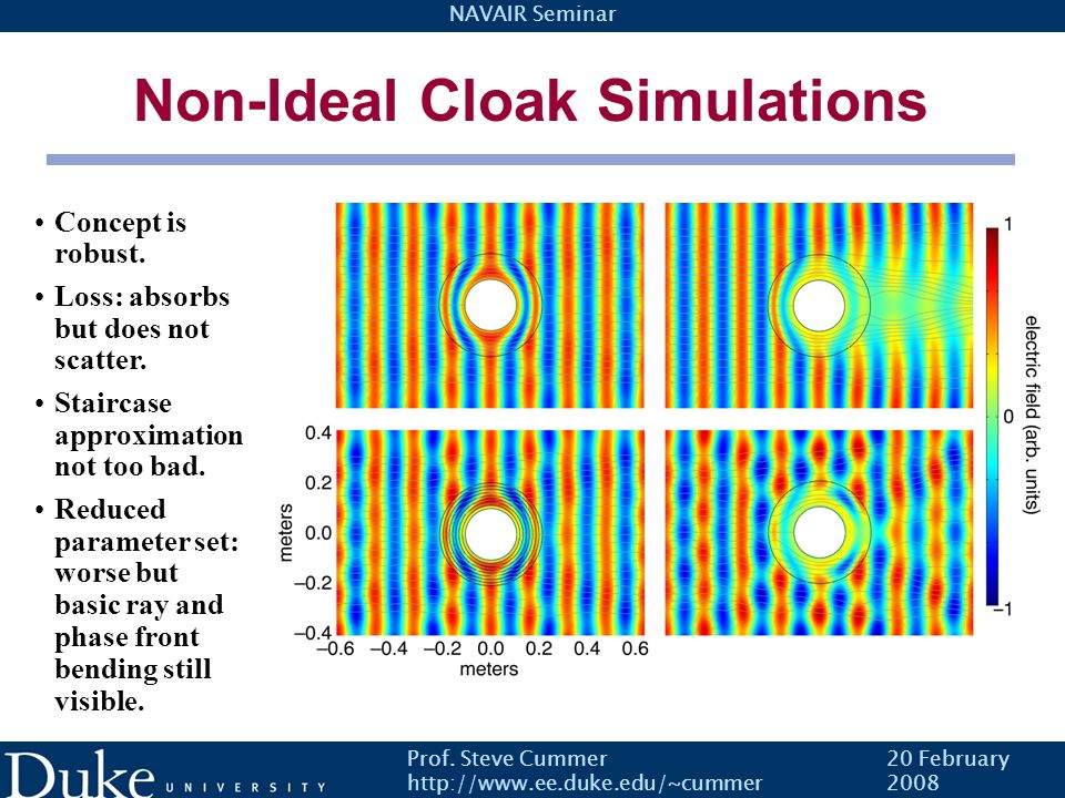Non-Ideal Cloak Simulations