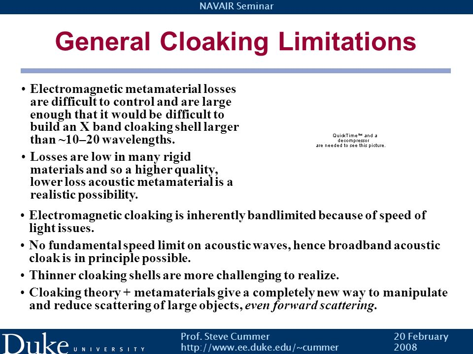 General Cloaking Limitations
