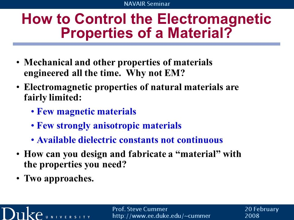 How to Control the Electromagnetic Properties of a Material