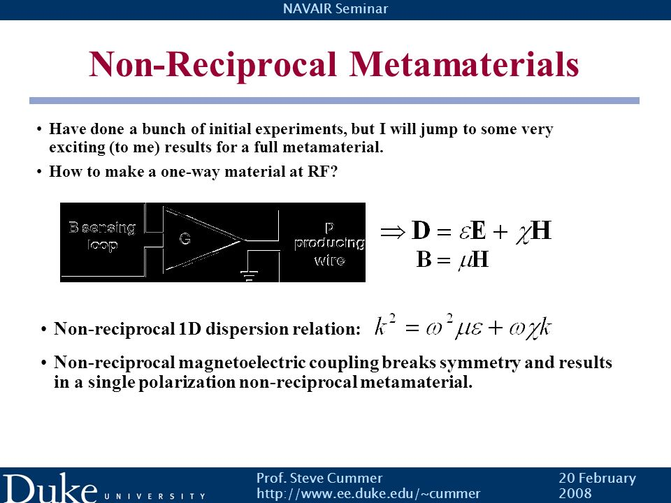 Non-Reciprocal Metamaterials
