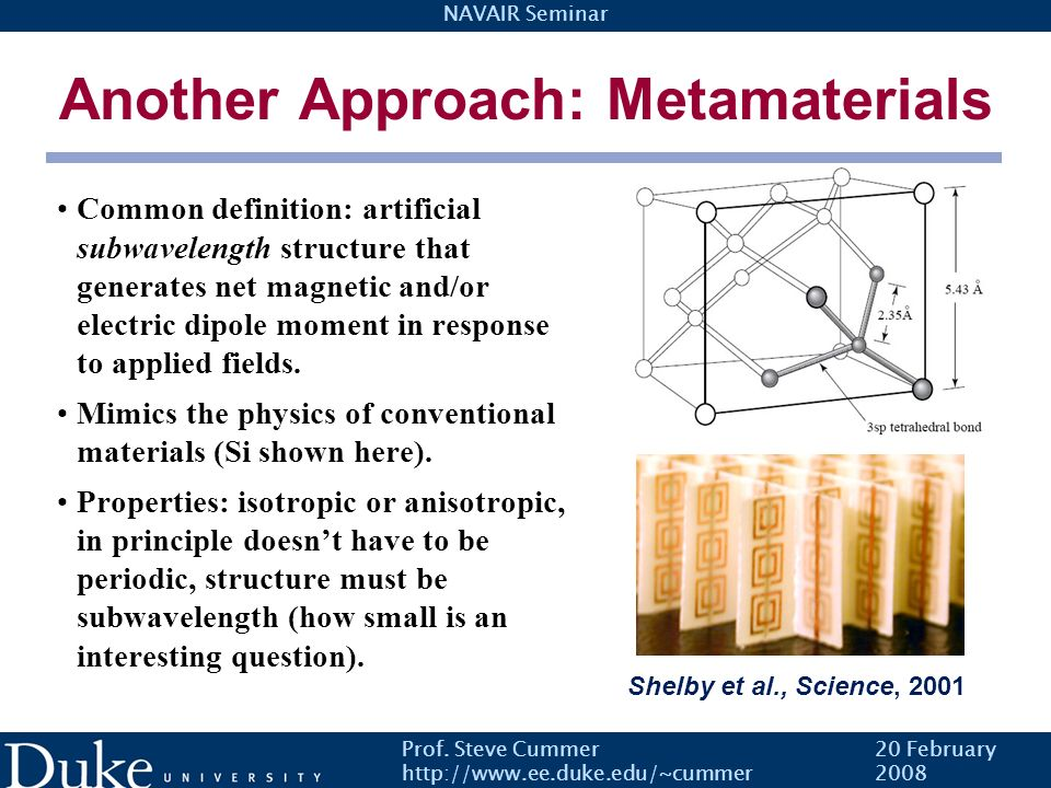 Another Approach: Metamaterials