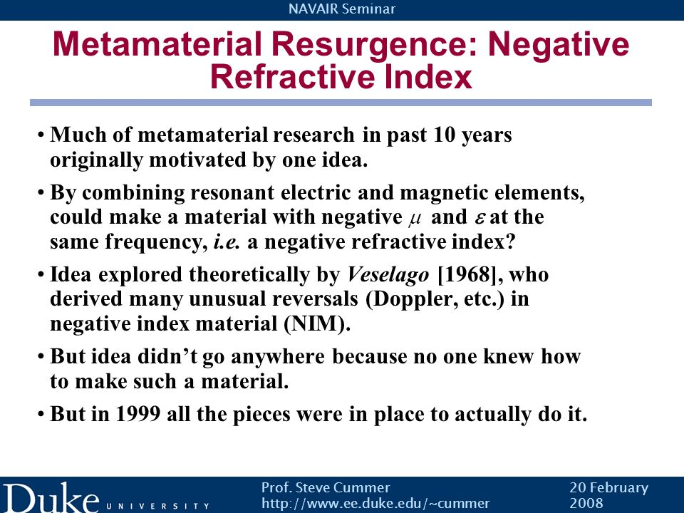Metamaterial Resurgence: Negative Refractive Index