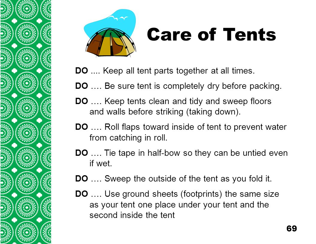 Care of Tents DO .... Keep all tent parts together at all times  sc 1 st  SlidePlayer & Girl Scouts of Southeastern Michigan Outdoor 2 - ppt download