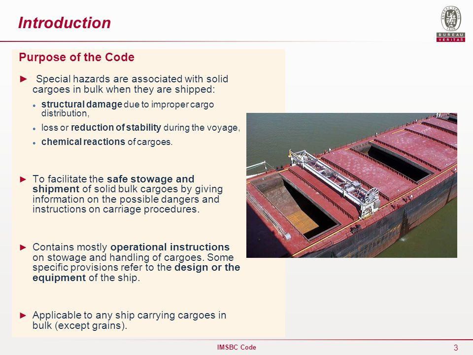 International maritime solid bulk cargoes imsbc code - Code reduction made in design ...