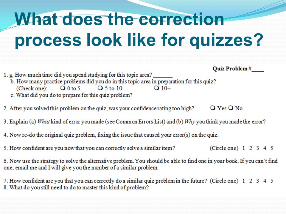 What does the correction process look like for quizzes