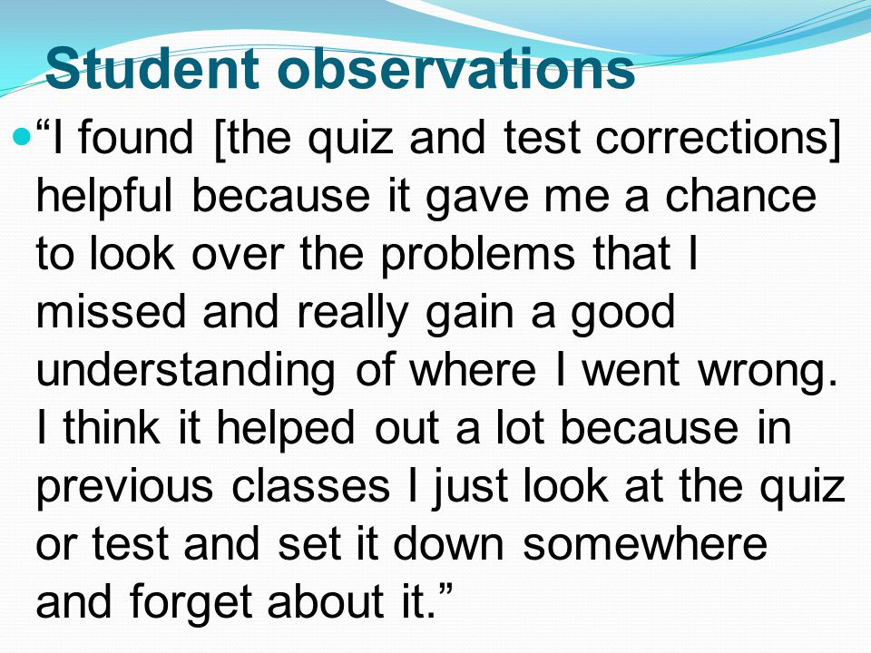 Student observations