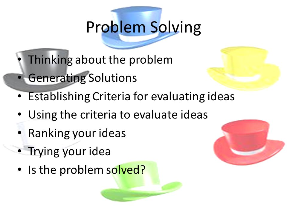 generating solutions the problem solving process Problem analysis generating possible solutions analyzing the solutions selecting the best solution(s) planning the next course of action (next steps) the process is only a guide for problem solving it is useful to have a structure to follow to make sure that nothing is overlooked.
