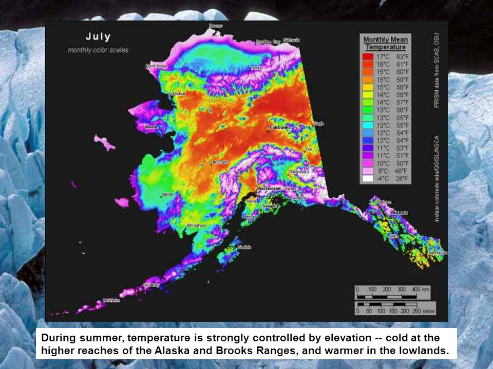 During summer, temperature is strongly controlled by elevation -- cold at the higher reaches of the Alaska and Brooks Ranges, and warmer in the lowlands.
