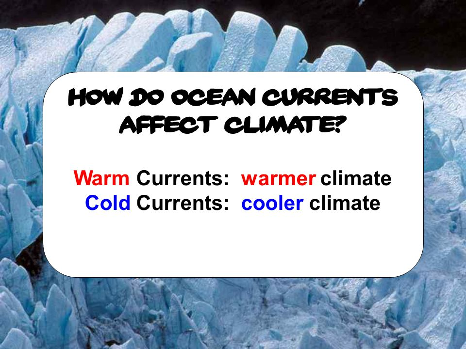 Warm Currents: warmer climate Cold Currents: cooler climate