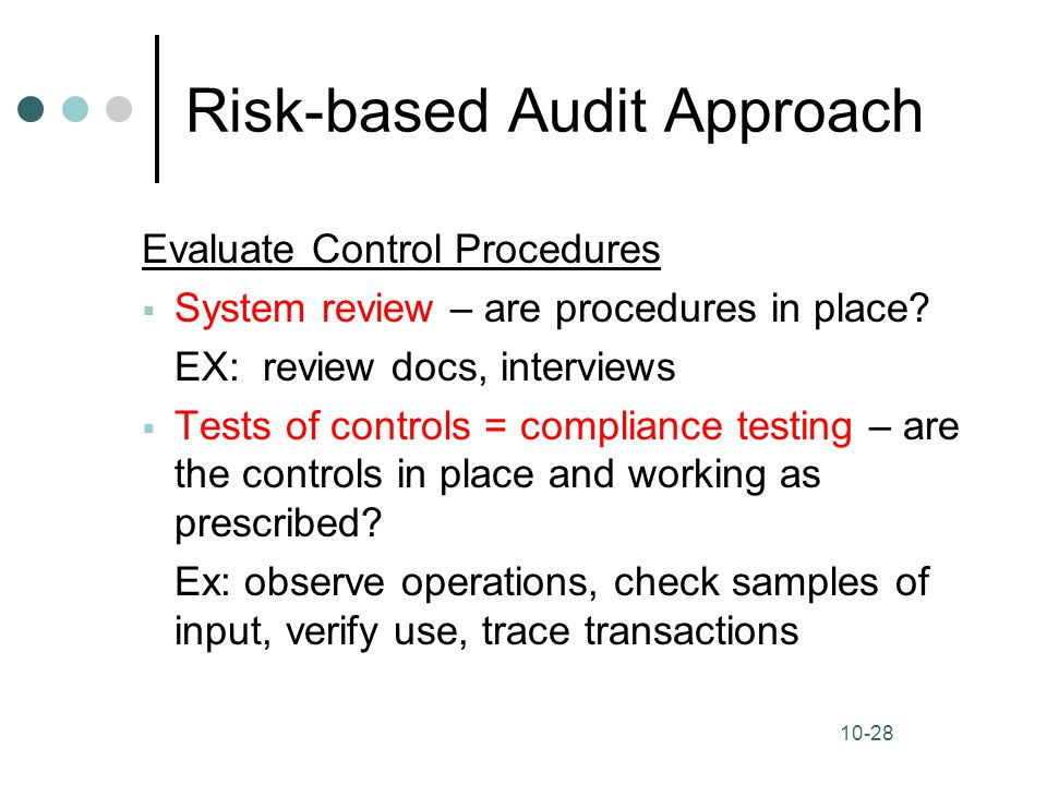 risk based audit approach The aim of the risk assessment auditing standards was to improve the quality and effectiveness of audits by substantially changing audit practice statements on auditing standards nos 104–111 provide increased rigor to the audit process in a number of key areas including the assessments of .