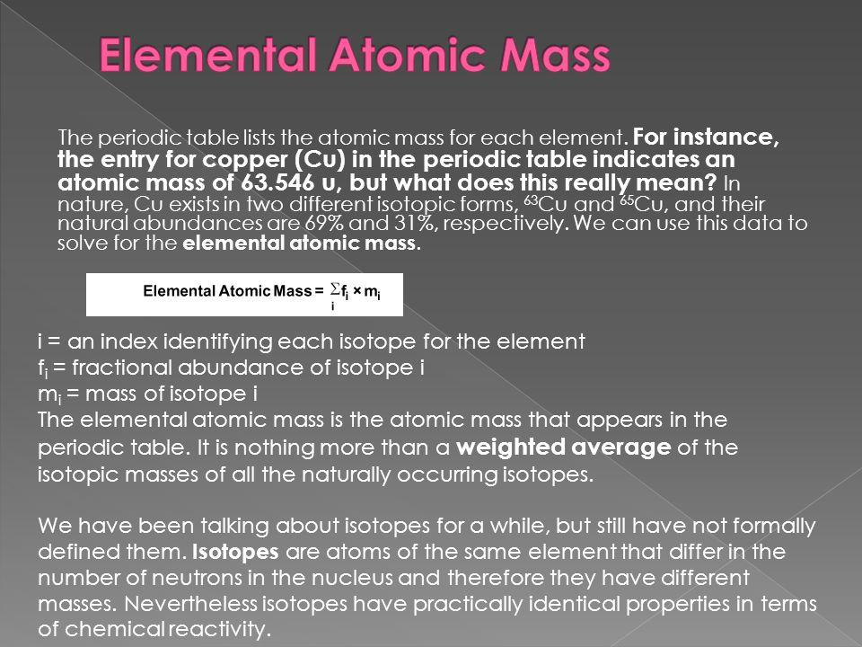Atomic mass average atomic mass ppt video online download elemental atomic mass urtaz Choice Image