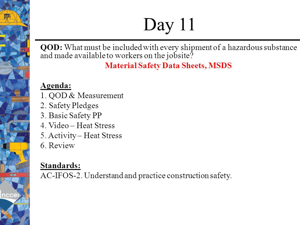Material Safety Data Sheets, MSDS