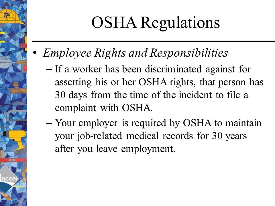OSHA Regulations Employee Rights and Responsibilities