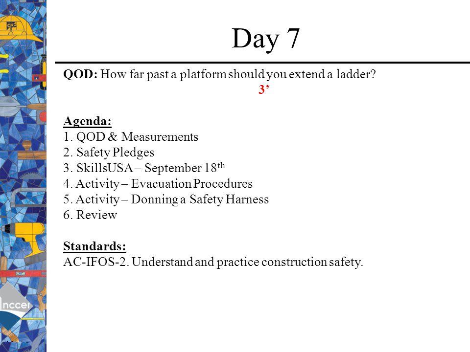 Day 7 QOD: How far past a platform should you extend a ladder 3'