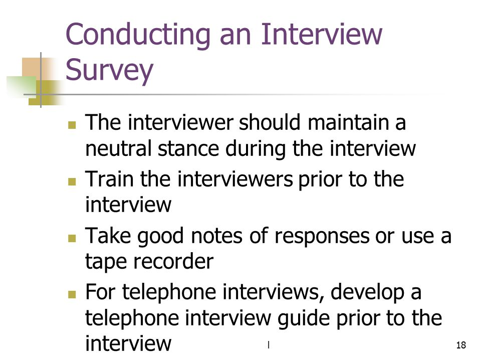 Conducting an Interview Survey