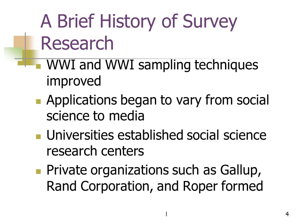A Brief History of Survey Research