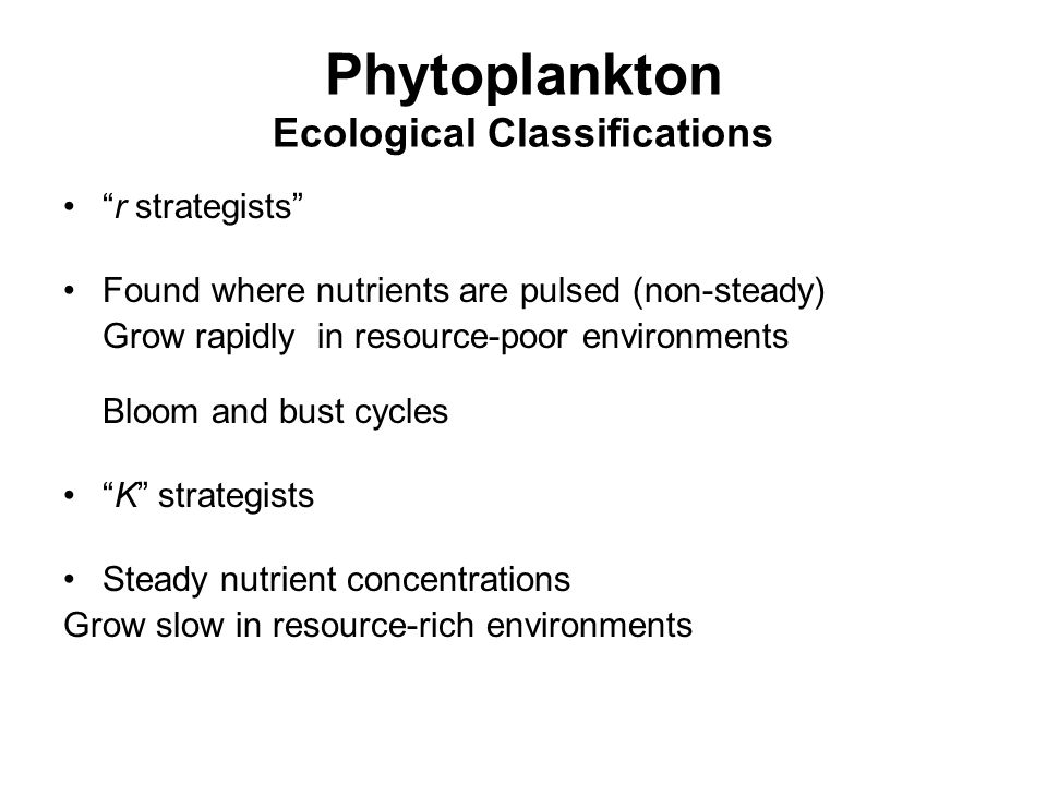 Phytoplankton Ecological Classifications