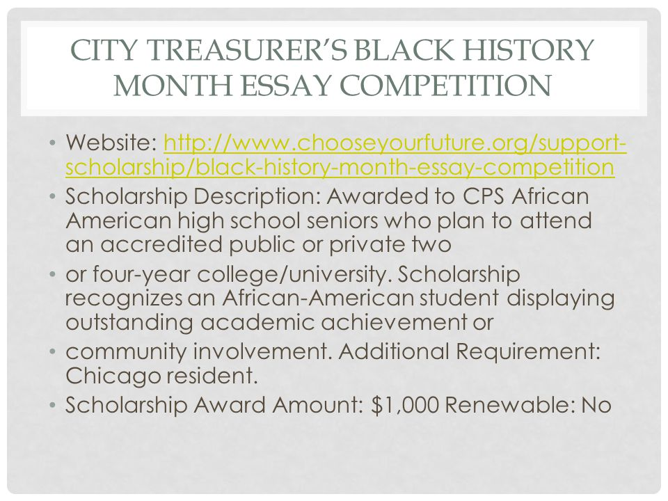 black history essay scholarship More than $20000 in scholarships and prizes were awarded to michigan  ford  freedom award scholar's experience essay contest winners were  of african  american history and detroit newspapers in education, hosted.