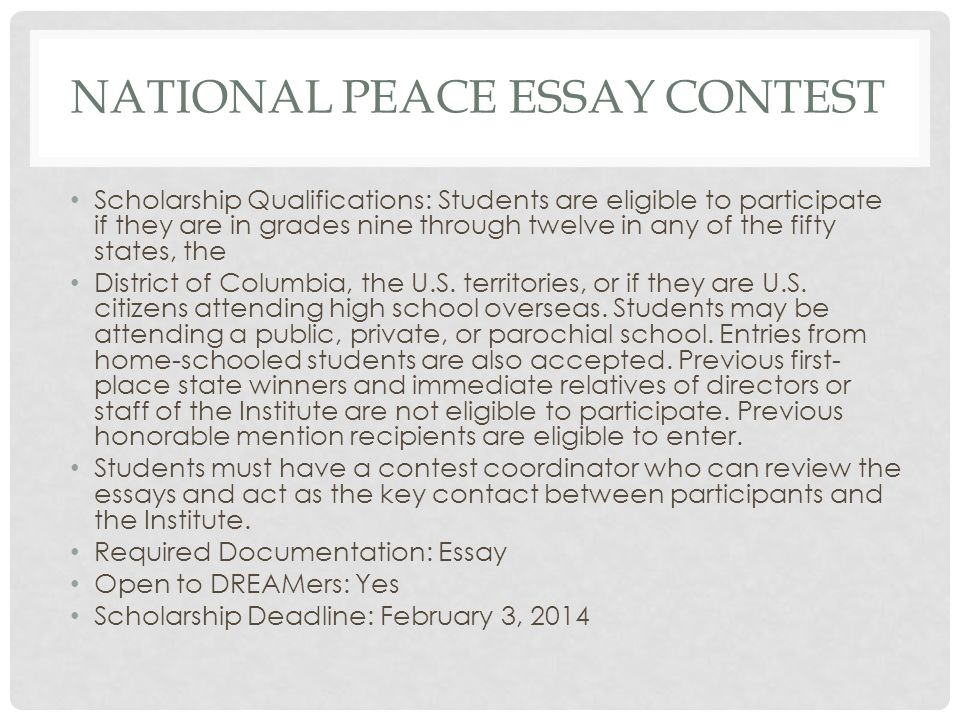 national peace essay 2014 For immediate release, may 16, 2014 contact: allison sturma, 202-429-4725 (washington) - today the united states institute of peace (usip) announced the state winners of the national peace essay contest (npec) for high school students.