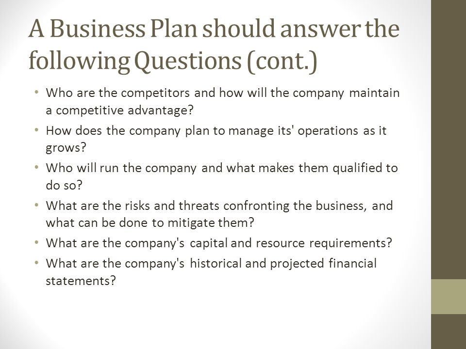 questions your business plan should answer financial