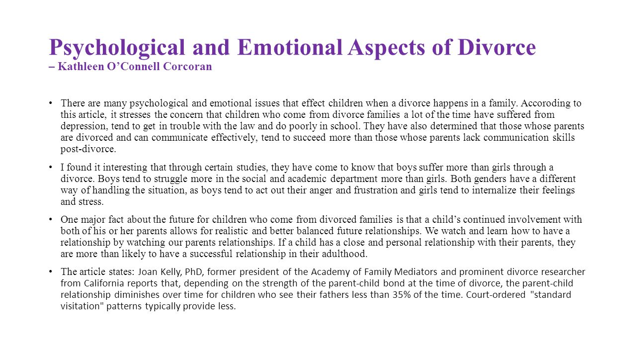 Effects of Divorce on Children's Social Skills