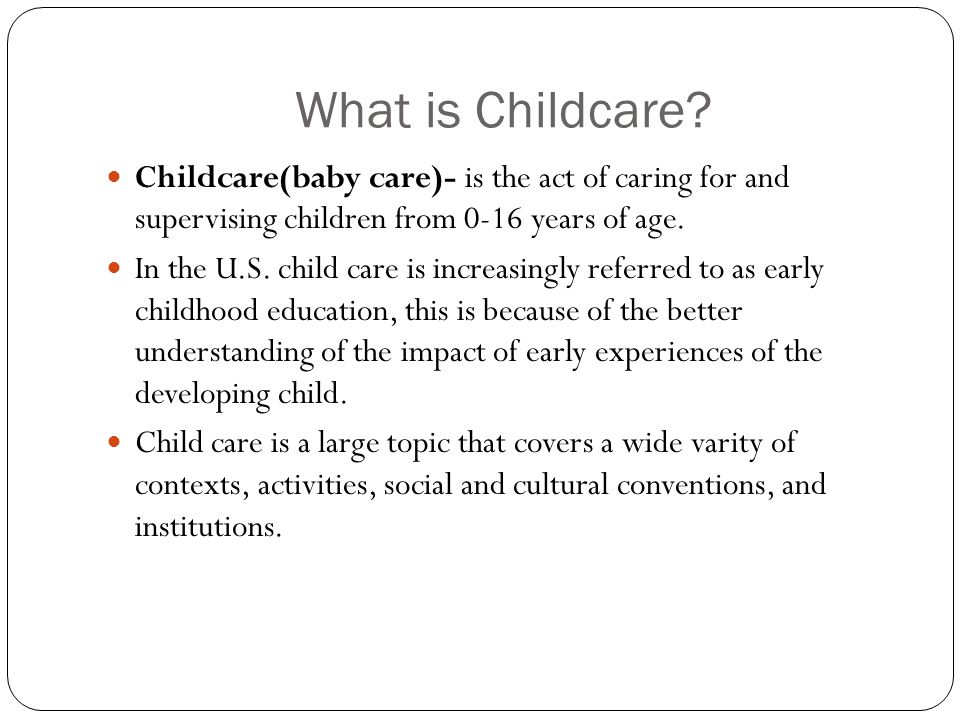 nonparental child care and its impact On the effects of nonparental child care on both infants and preschoolers in an  article organized around aspects of devel- opment on which nonparental child.