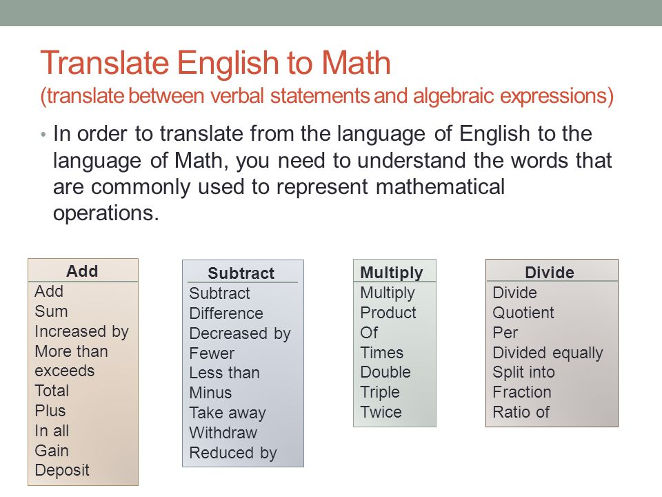 Translate English to Math (translate between verbal statements and algebraic expressions)