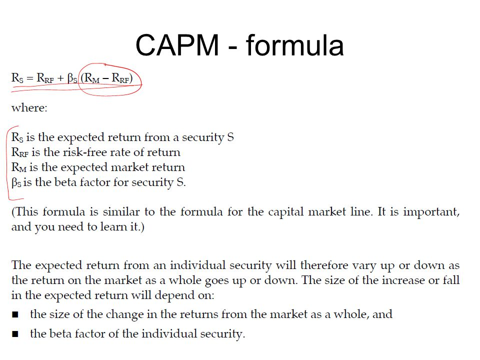 capm risk and beta Expected return and beta 1 s what is the expected return on a stock with β = 0  – answer is r f : same return as risk-free asset s why – think about insuring.