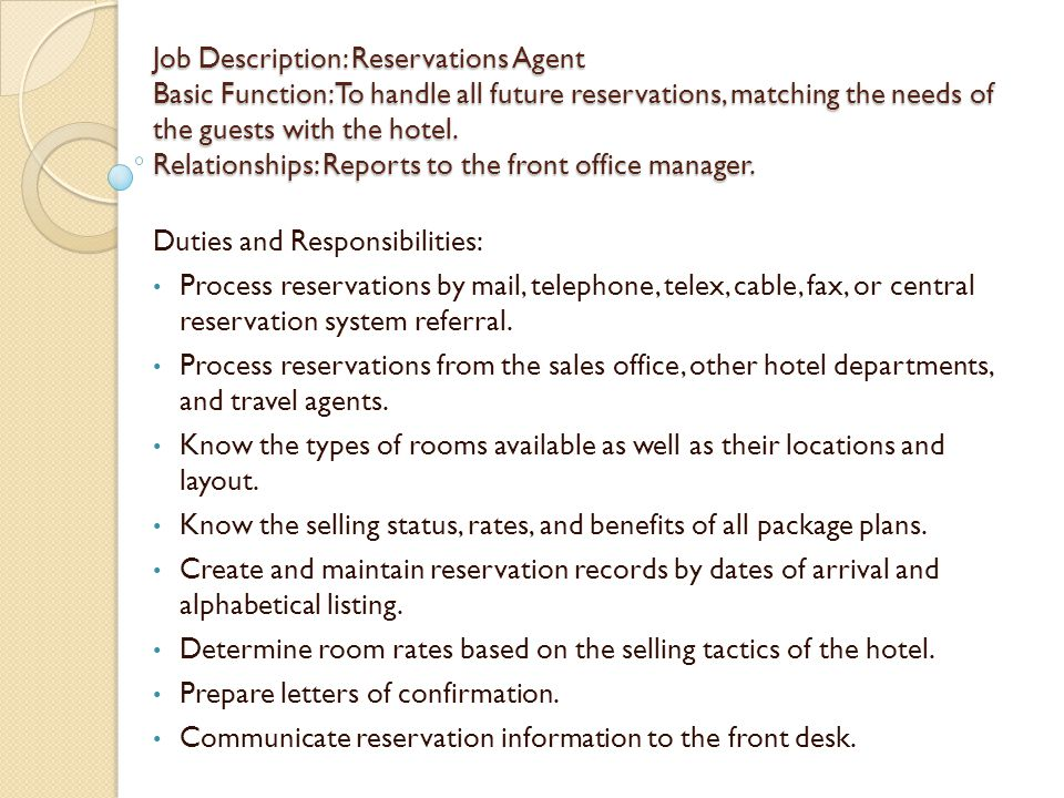 Hotel Front Desk Manager Job Description