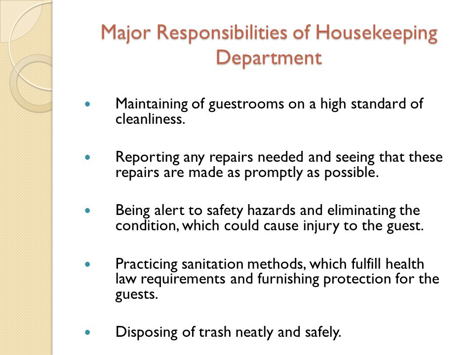 Major Responsibilities Of Housekeeping Department  Duties Of A Housekeeper