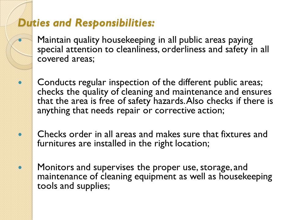 69 duties and responsibilities - Housekeeping Responsibilities