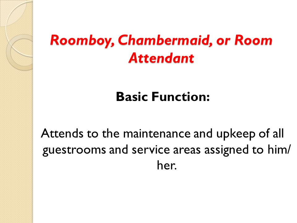 Roomboy Chambermaid Or Room Attendant