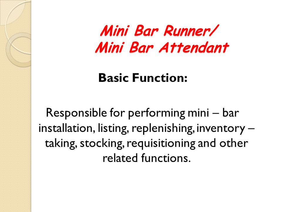 75 Mini Bar Runner Attendant