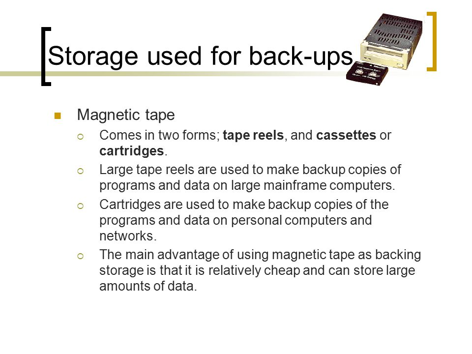 Storage used for back-ups