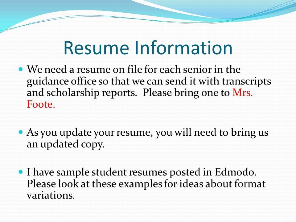 information for parents and students ppt