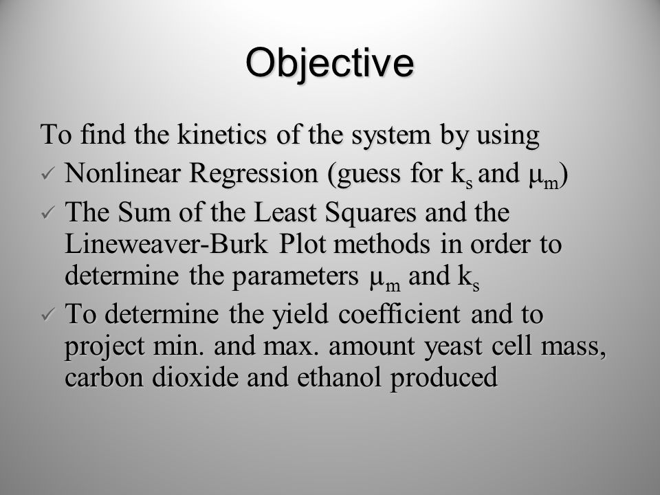 Objective To find the kinetics of the system by using