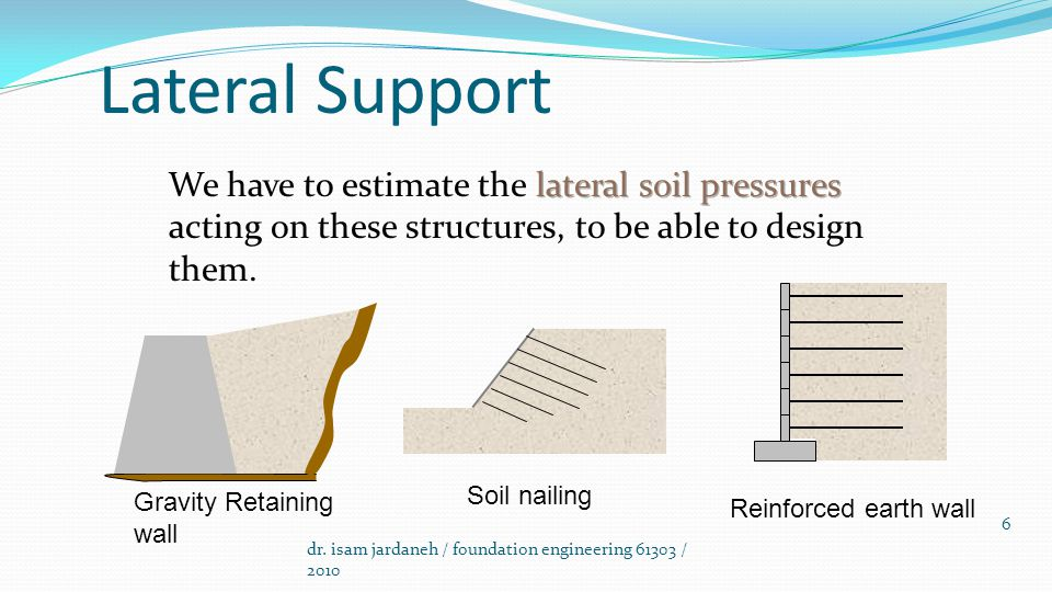 Lateral Support We Have To Estimate The Lateral Soil Pressures Acting On  These Structures, To