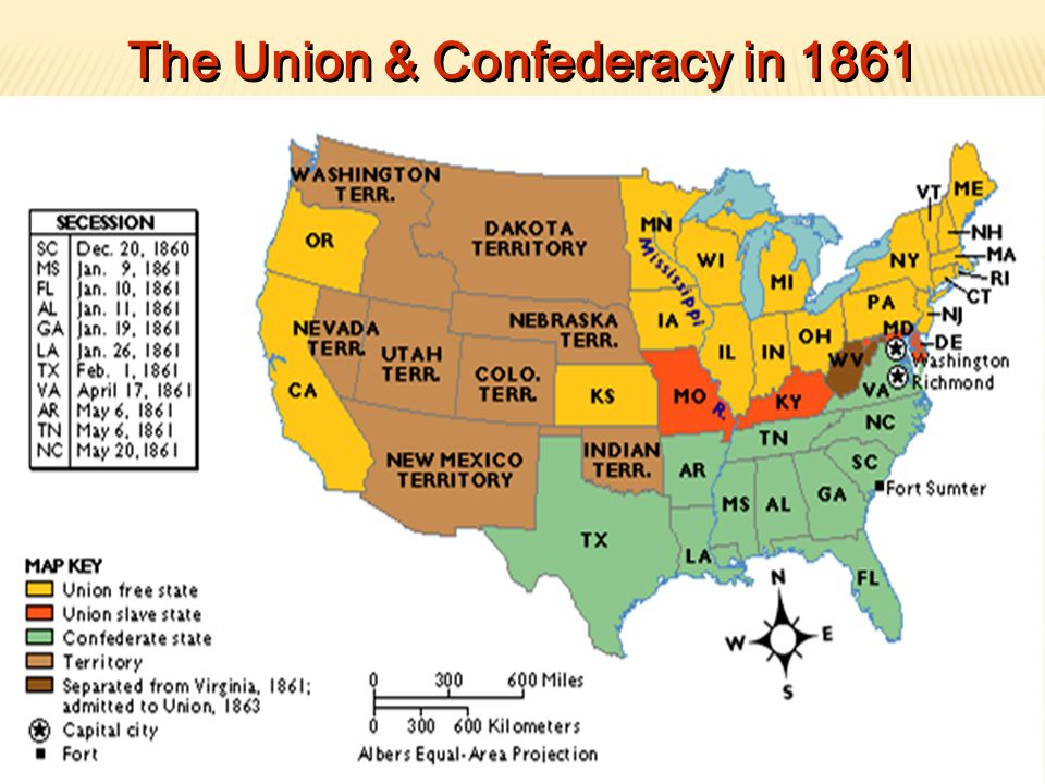 The Civil War Ppt Download - Map of us confederate and union states 1860