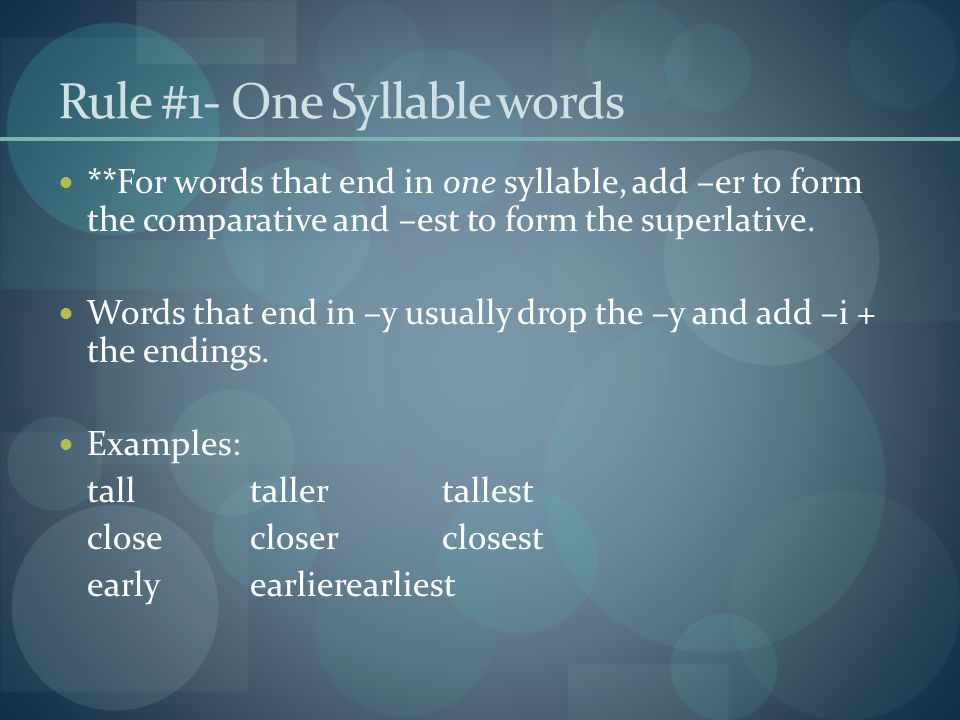 Rule #1- One Syllable words