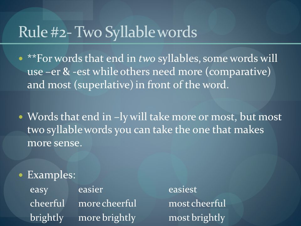 Rule #2- Two Syllable words