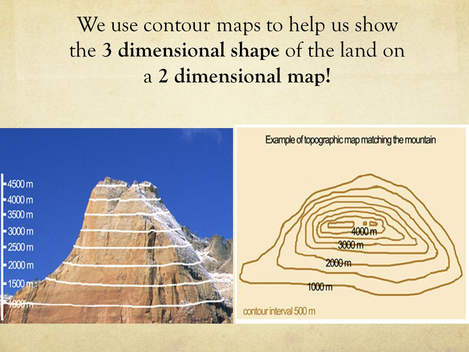 4 We Use Contour Maps To Help Us Show The 3 Dimensional Shape Of The Land On A 2 Dimensional Map