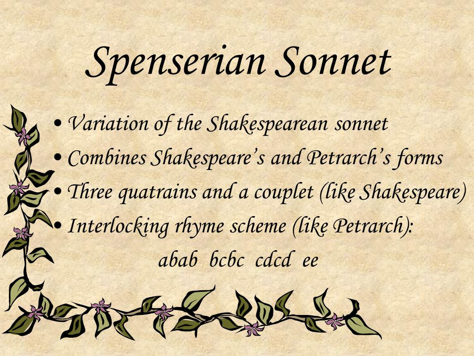 Spenserian Sonnet Variation of the Shakespearean sonnet