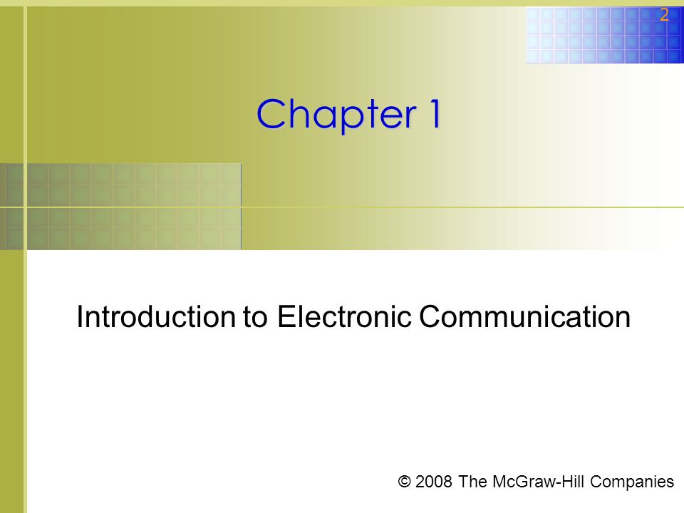 introduction to electronic communications An electronic communications system using electronic signals in  telecommunication, a communications system is a collection of individual  communications.