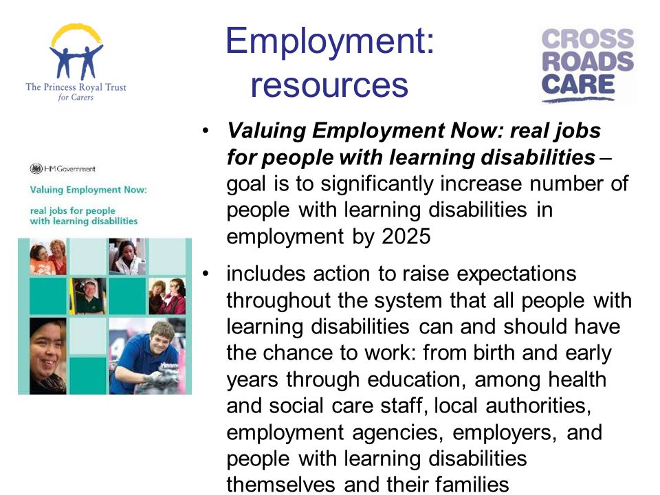 explain the types of services that have been provided for individuals with learning disabilities ove Disability discrimination essay sample 31 explain the types of services that have been provided for individuals with learning disabilities over time •day centres.