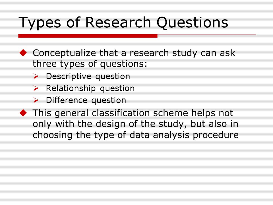 types of business research questions Develop effective types of interview questions, and ask purpose of your research and by sharing your questions with other major types of questions.